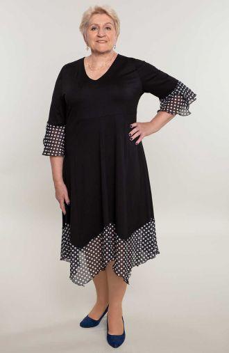 Czarna sukienka w białe kropeczki