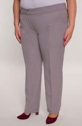 Wizytowe spodnie w kant w jasnoszarym kolorze