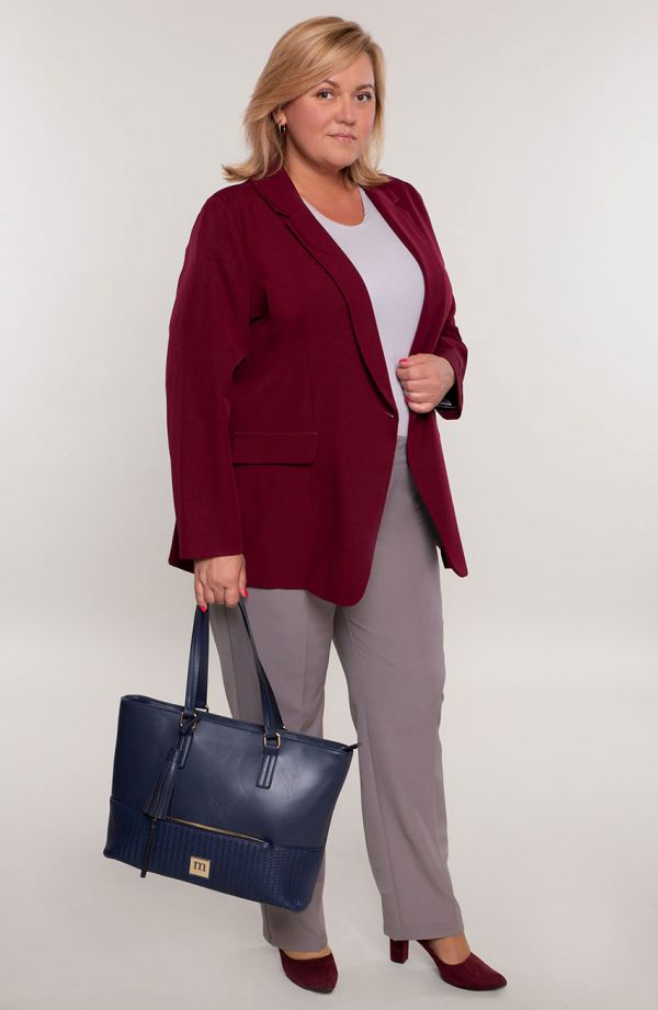 Wizytowe spodnie plus sizew kant w jasnoszarym kolorze