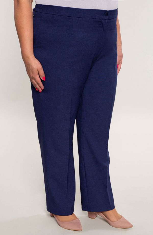 Lniane proste spodnie plus sizew kant granat