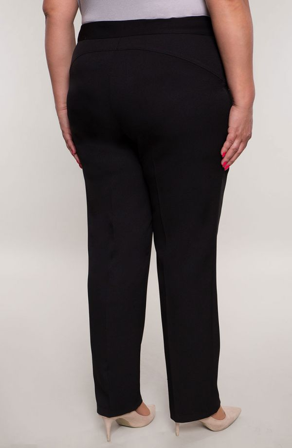 Wizytowe spodnie w kant plus size dla puszystych w kolorze czerni