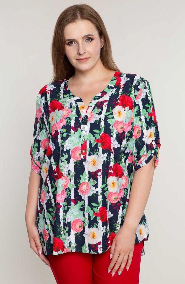 Bluzka koszulowa w różane paski