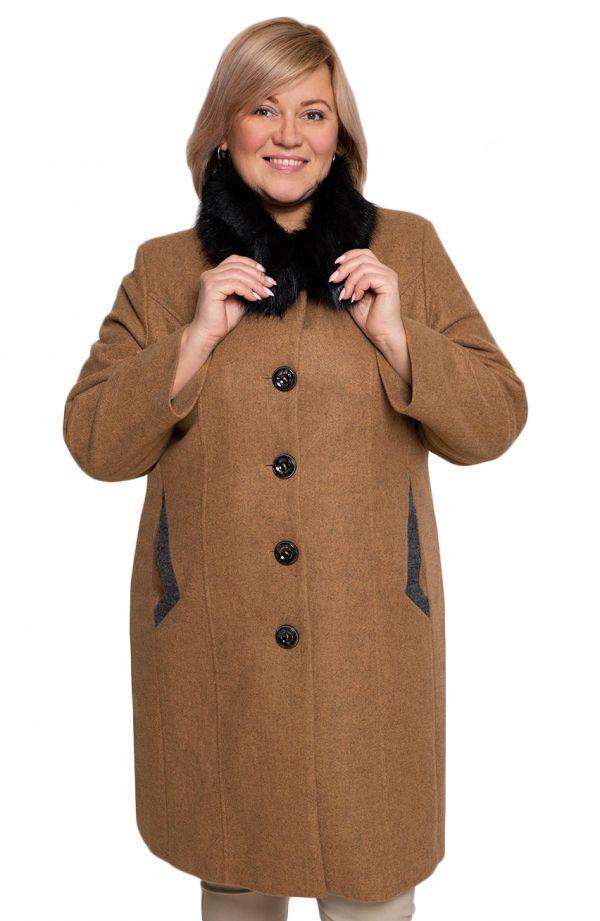 Elegancki dłuższy płaszcz w kolorze karmelu
