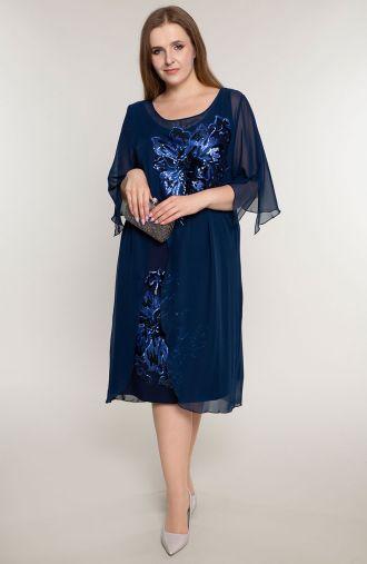Granatowa sukienka z błyszczącym kwiatem
