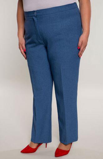 Lniane spodnie w kant w niebieskim kolorze