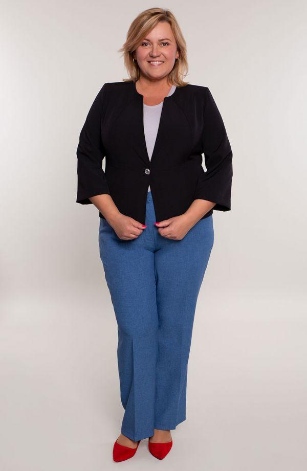 Lniane spodnie plus sizew kant w niebieskim kolorze