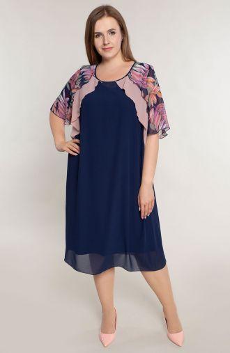 Granatowa sukienka z listkowymi rękawkami