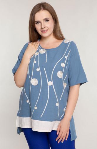 Niebieska bawełniana tunika z haftem