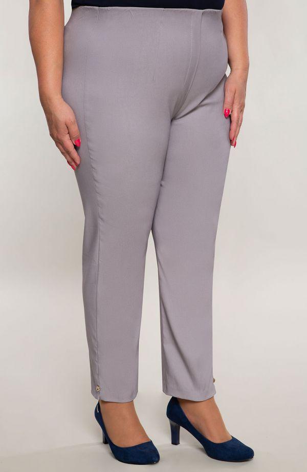 Jasnoszare spodnie damskie 7/8 plus size z wysokim stanem