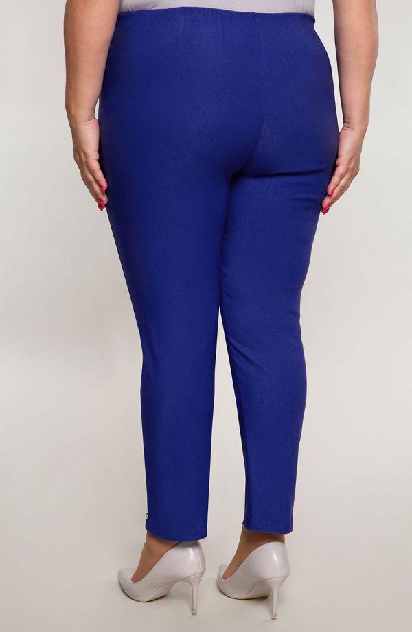 Chabrowe spodnie plus size dla puszystych 7/8 z wysokim stanem