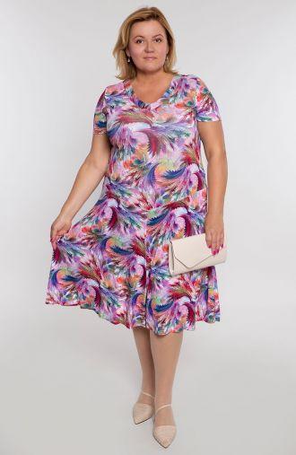 Rozkloszowana sukienka kolorowy mróz