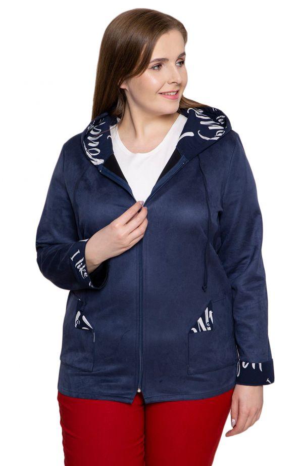 Niebieska zamszowa kurtka z kapturem