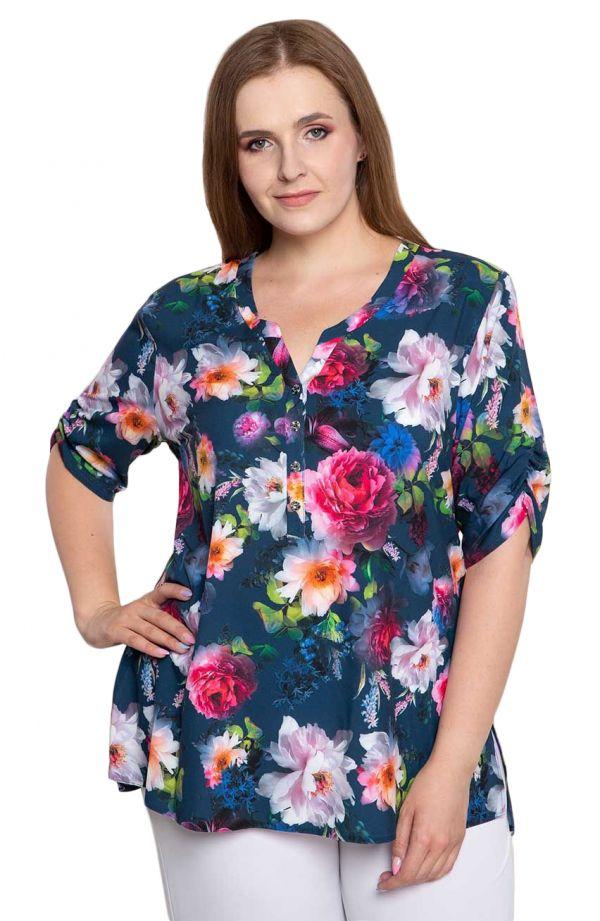 Bluzka koszulowa w barwne kwiaty