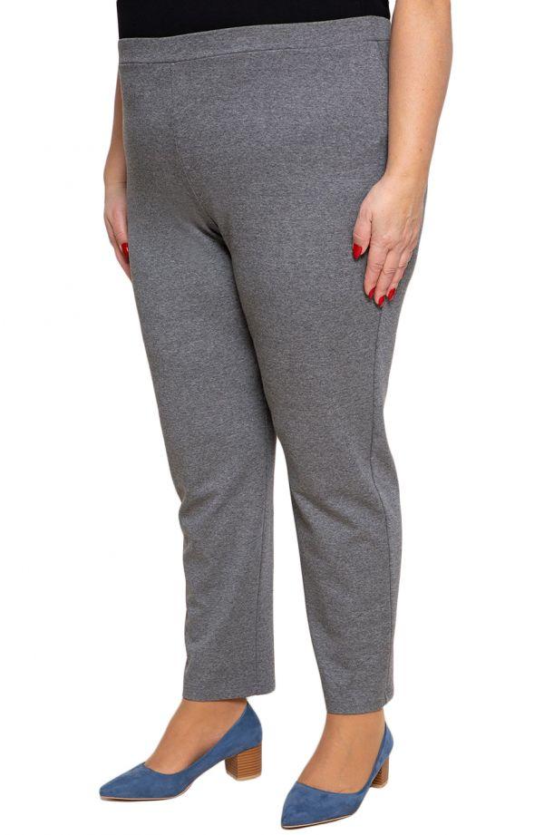 Klasyczne spodnie plus size dla puszystych w szarym kolorze