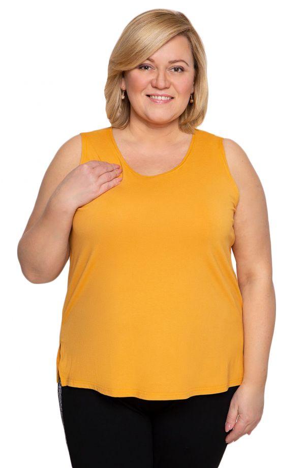 Bluzki damskie duże rozmiary - uniwersalny musztardowy top z wiskozy