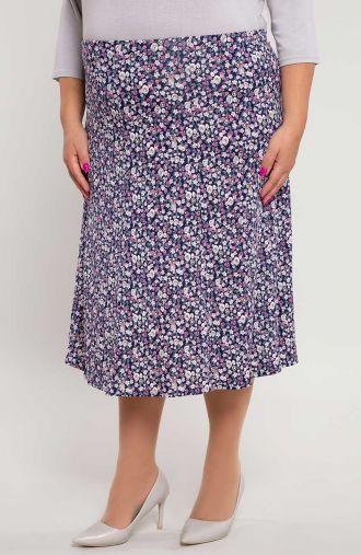 Rozkloszowana spódnica różowa łąka