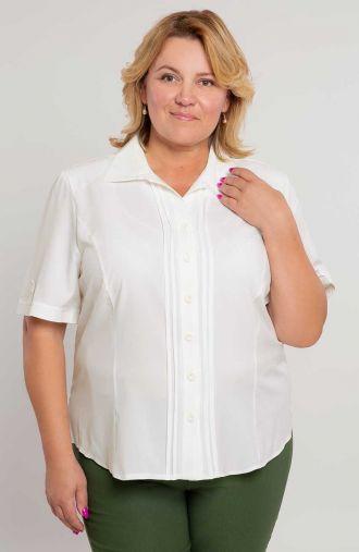 Kremowa koszula z ozdobnymi pliskami -<span>moda dla puszystych</span>