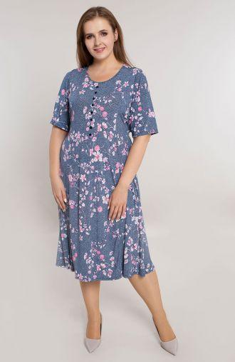 Rozkloszowana sukienka różowy migdałowiec