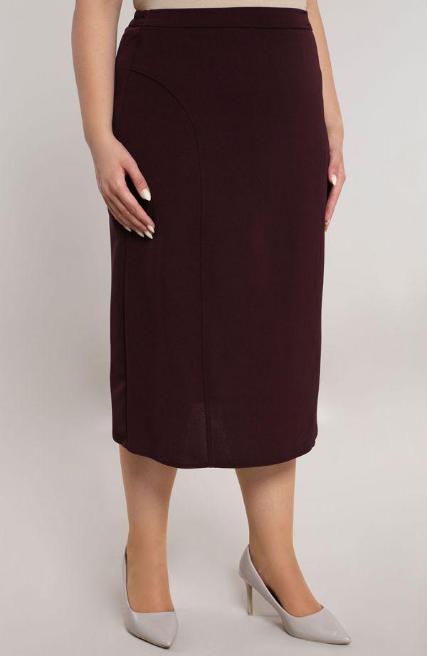 Klasyczna burgundowa spódnica z przeszyciami