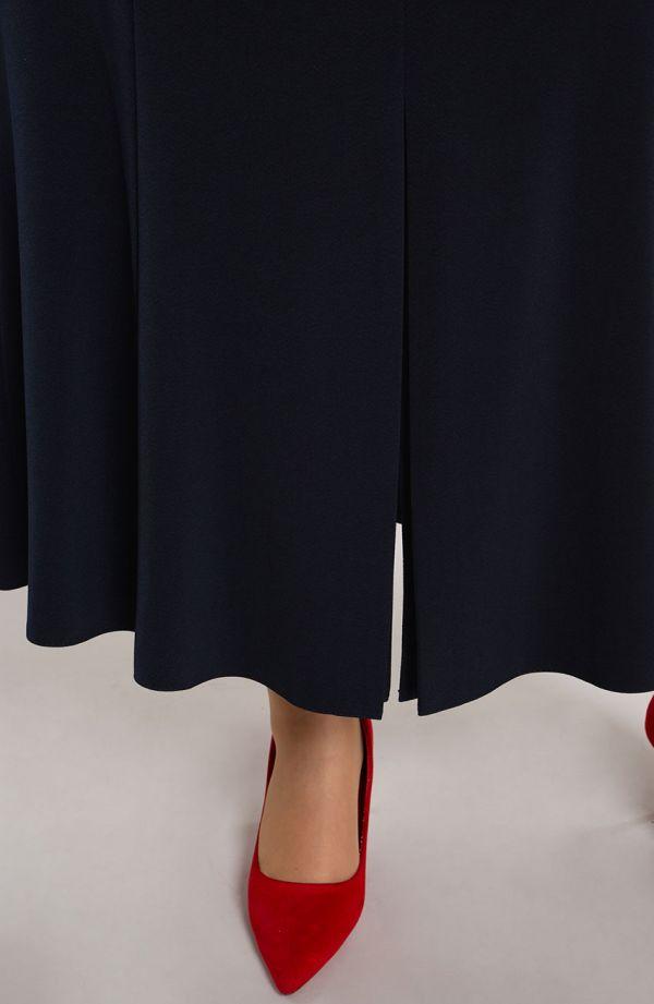 Granatowa spódnica tulipan z rozcięciem