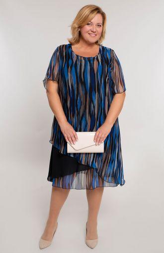 Szyfonowa sukienka w niebieskie paski