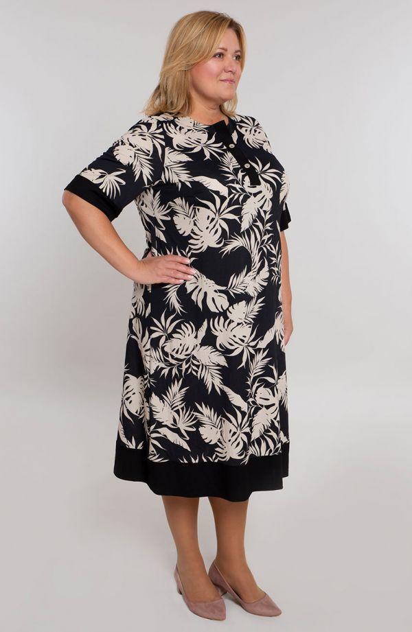 Prosta sukienka w beżowe liście