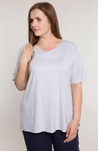 Szara dzianinowa koszulka -moda dla puszystych