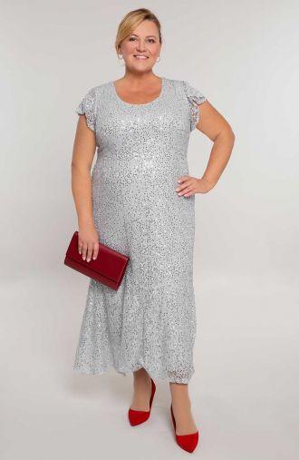 Długa cekinowa sukienka w srebrnym kolorze -sukienki dla puszystych