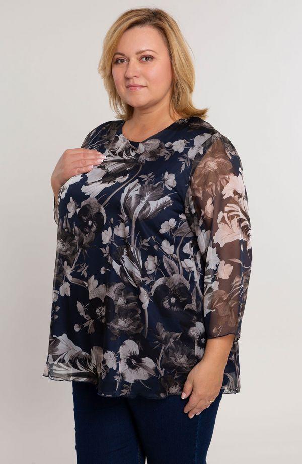 Granatowa szyfonowa bluzka w beżowe kwiaty