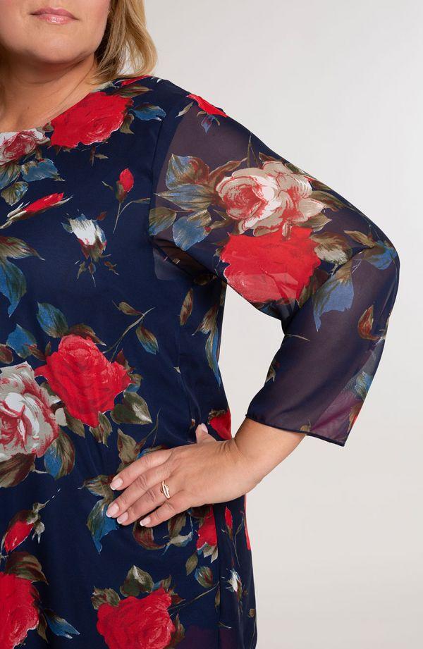 Granatowa szyfonowa bluzka w róże