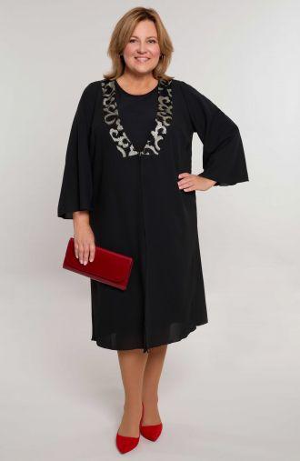 Czarna sukienka z narzutką i ornamentem