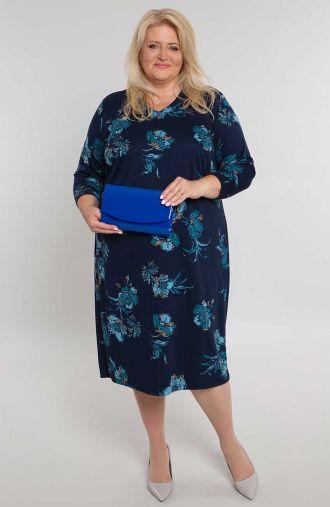 Prosta sukienka w niebieskie kwiaty