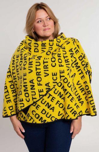 Ciepłe żółte ponczo w napisy