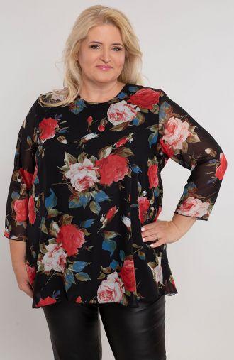Czarna szyfonowa bluzka w róże
