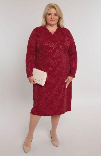 Bordowa sukienka w brokatowe róże