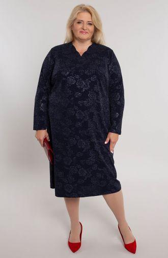 Granatowa sukienka w brokatowe róże