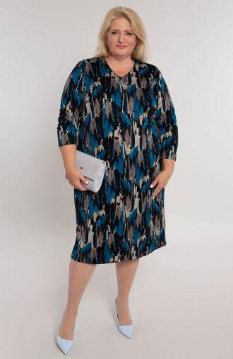 Prosta sukienka niebieska kora