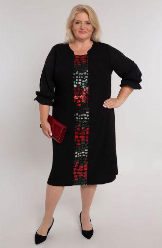Czarna sukienka z cekinowym pasem