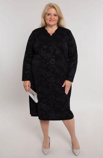 Czarna sukienka w brokatowe róże