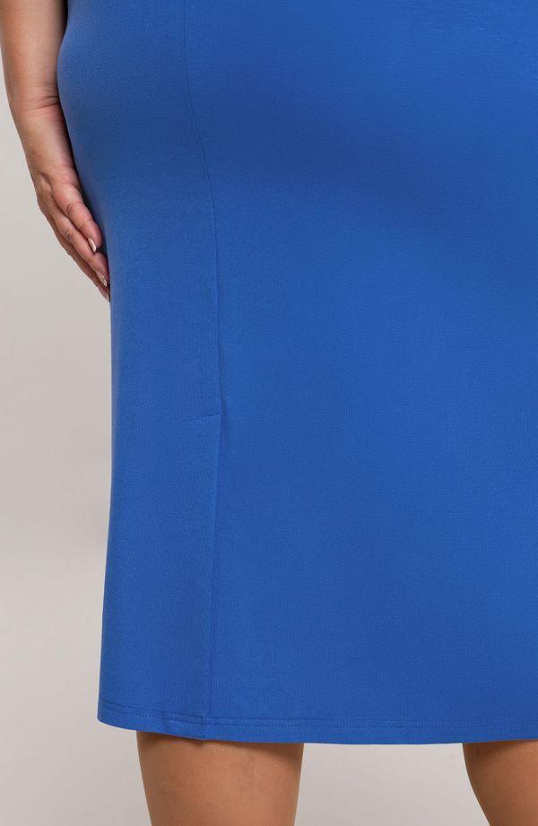Gładka prosta sukienka w kolorze chabru