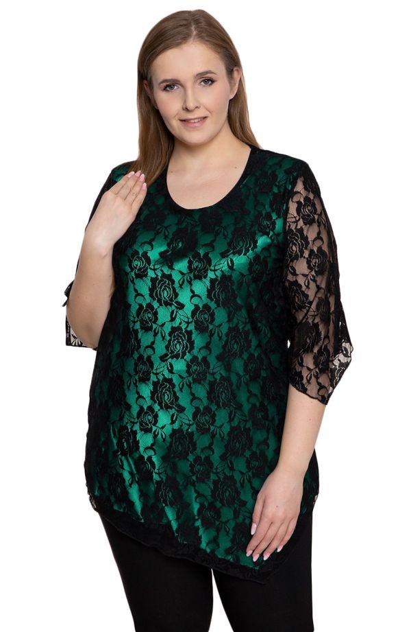 Malachitowa tunika z kwiatową koronką - odzież plus size