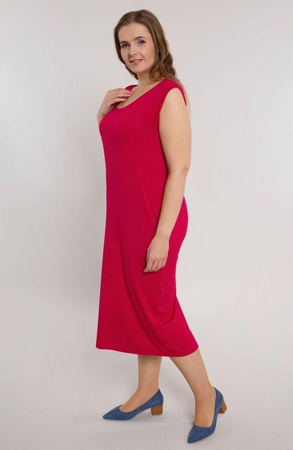 Gładka prosta sukienka w kolorze wiśniowym
