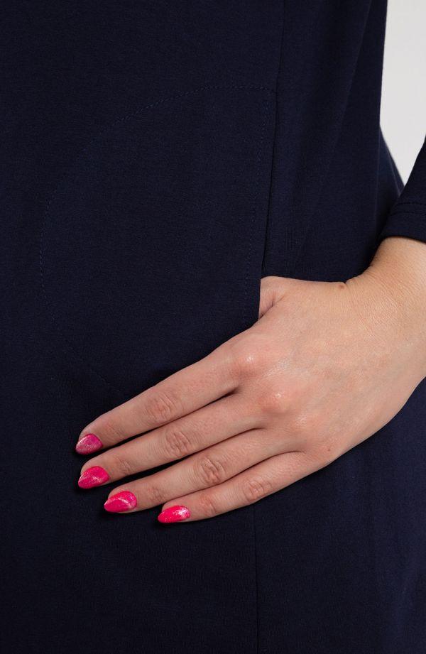 Granatowa narzutka z kieszonkami długi rękaw