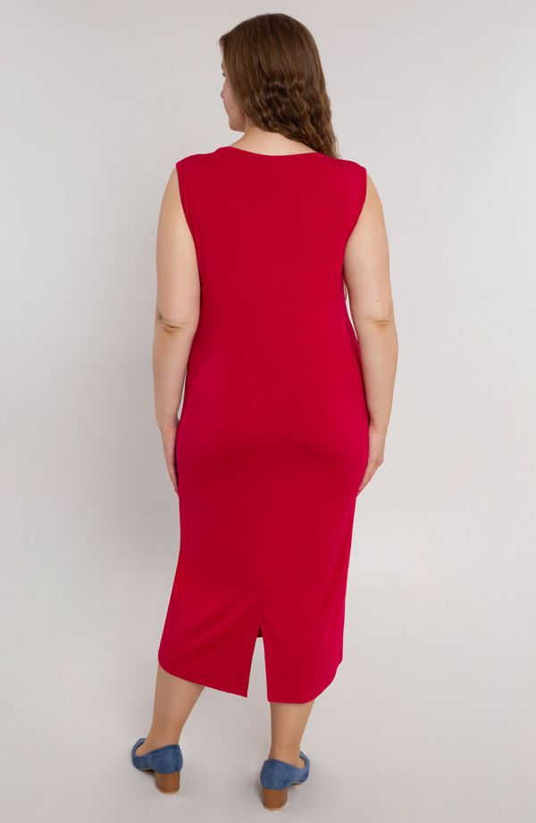 Gładka prosta sukienka w kolorze czerwieni