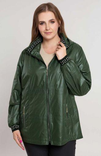 Zielona kurtka z ozdobnym ściągaczem