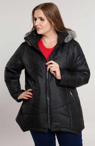 Czarna przejściowa kurtka z lampasem