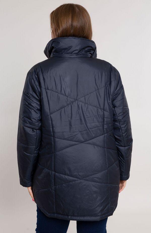 Granatowa przejściowa kurtka z lampasem