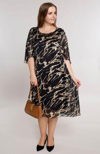 Czarna sukienka w brązowo beżowe plamy