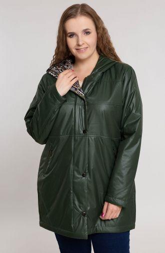 Zielona przejściowa kurtka z kapturem