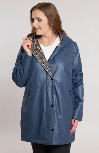 Niebieska przejściowa kurtka z kapturem